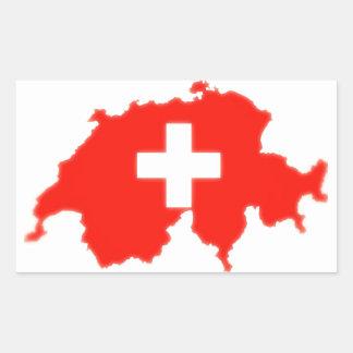 Swiss flag map rectangular sticker