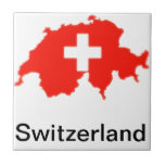 Swiss flag map small square tile