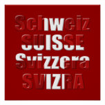 Swiss Flag of Switzerland Official languages Gift Poster