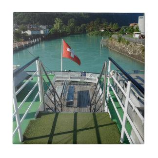Swiss flag on a boat ceramic tile