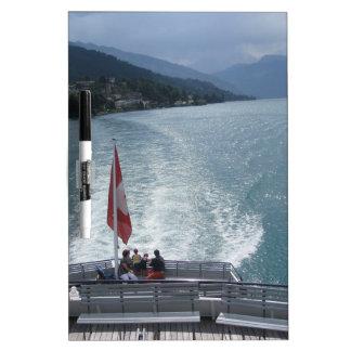 Swiss flag on a cruise ship on Lake Thun Dry-Erase Boards
