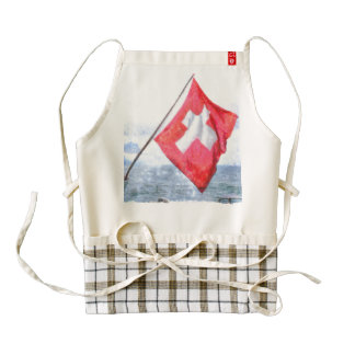 Swiss flag on a ship zazzle HEART apron