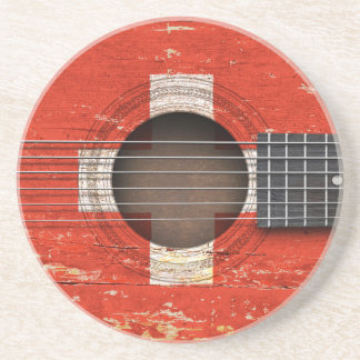 Swiss Flag on Old Acoustic Guitar Beverage Coaster