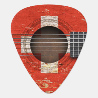 Swiss Flag on Old Acoustic Guitar Pick