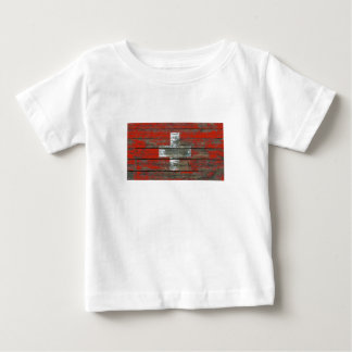 Swiss Flag on Rough Wood Boards Effect Tee Shirt