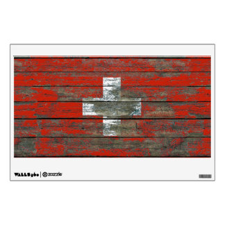 Swiss Flag on Rough Wood Boards Effect Wall Decal