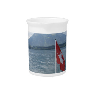 Swiss flag on the rear section of a cruise ship beverage pitcher