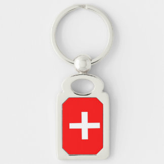 Swiss Flag Silver-Colored Rectangular Metal Keychain