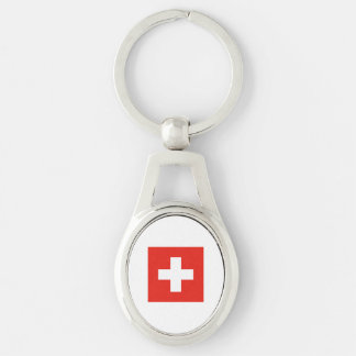 Swiss Flag Silver-Colored Oval Metal Keychain