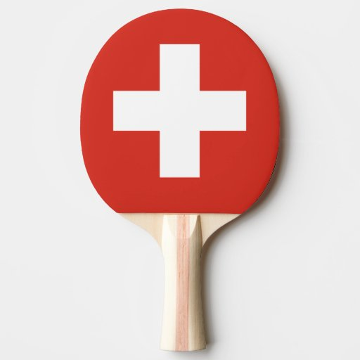 Swiss flag ping pong paddle for table tennis | Zazzle