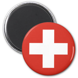 Swiss Flag Red Cross 2 Inch Round Magnet