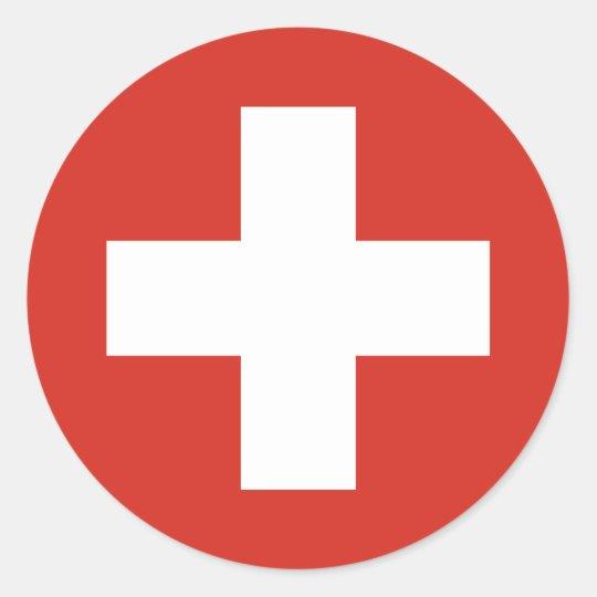 Swiss Flag Red Cross Classic Round Sticker