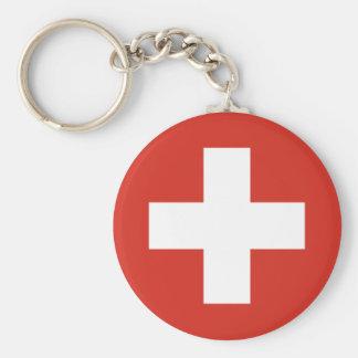 Swiss Flag Red Cross Basic Round Button Keychain