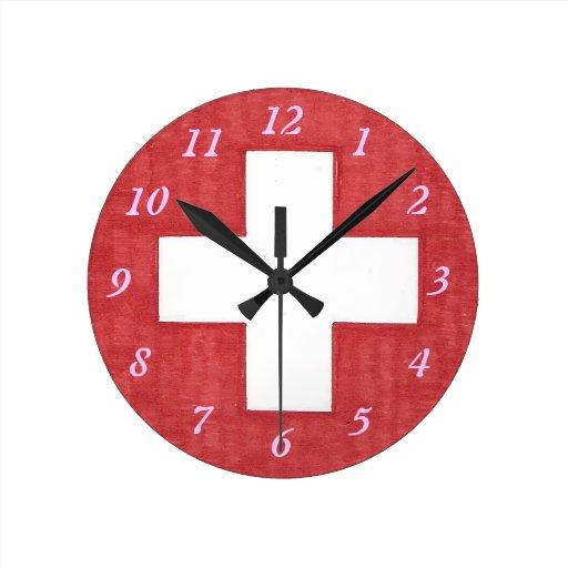 Swiss Flag Round Wall Clock Zazzle