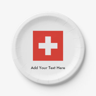 Swiss Flag 7 Inch Paper Plate