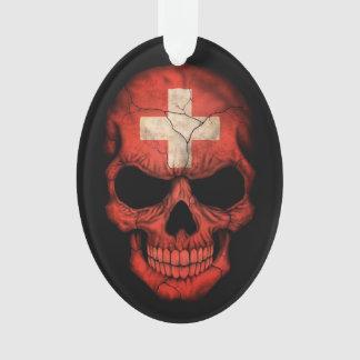 Swiss Flag Skull on Black