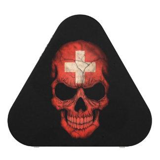 Swiss Flag Skull on Black Speaker