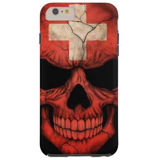Swiss Flag Skull on Black Tough iPhone 6 Plus Case
