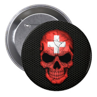 Swiss Flag Skull on Steel Mesh Graphic Pinback Buttons