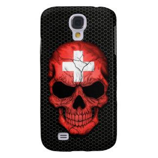 Swiss Flag Skull on Steel Mesh Graphic Samsung S4 Case