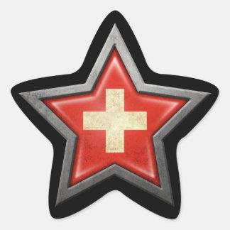 Swiss Flag Star on Black Star Sticker