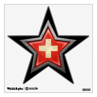 Swiss Flag Star on Black Wall Decal