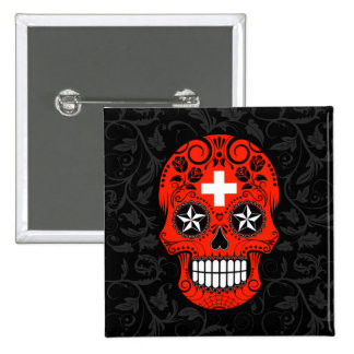Swiss Flag Sugar Skull with Roses 2 Inch Square Button