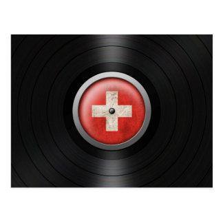 Swiss Flag Vinyl Record Album Graphic Postcard