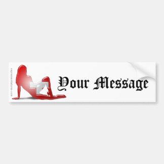 Swiss Girl Silhouette Flag Bumper Sticker