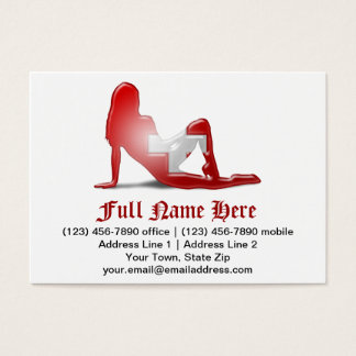 Swiss Girl Silhouette Flag Business Card