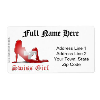Swiss Girl Silhouette Flag Label