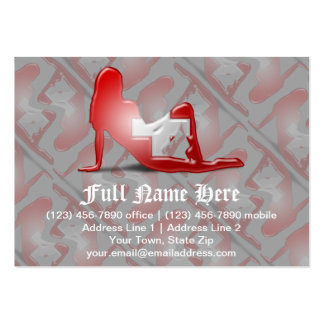 Swiss Girl Silhouette Flag Large Business Card