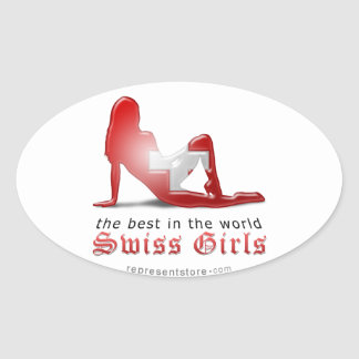 Swiss Girl Silhouette Flag Oval Sticker