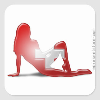 Swiss Girl Silhouette Flag Square Sticker