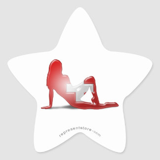 Swiss Girl Silhouette Flag Star Sticker