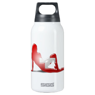 Swiss Girl Silhouette Flag Thermos Bottle