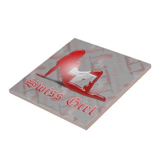 Swiss Girl Silhouette Flag Ceramic Tiles