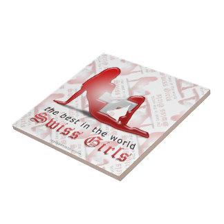 Swiss Girl Silhouette Flag Tiles