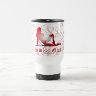 Swiss Girl Silhouette Flag Travel Mug