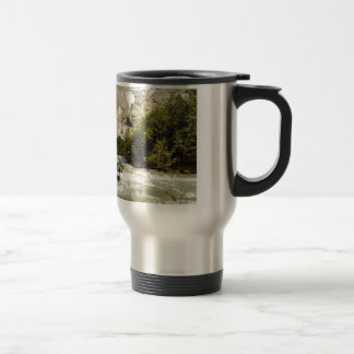 Swiss glacier and meltwater river 15 oz stainless steel travel mug