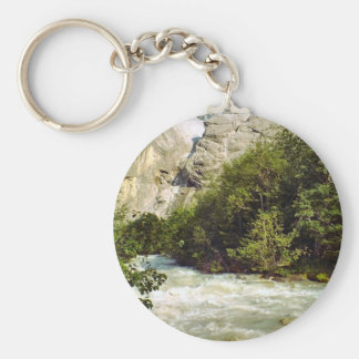 Swiss glacier and meltwater river basic round button keychain