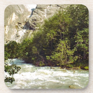 Swiss glacier and meltwater river beverage coaster