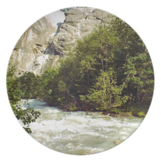 Swiss glacier and meltwater river dinner plate