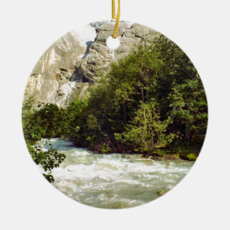Swiss glacier and meltwater river Double-Sided ceramic round christmas ornament