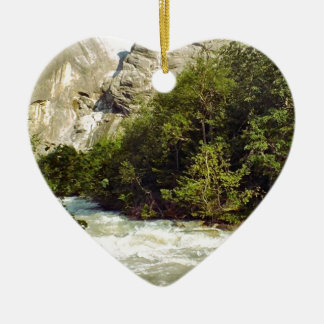 Swiss glacier and meltwater river Double-Sided heart ceramic christmas ornament