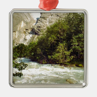 Swiss glacier and meltwater river square metal christmas ornament