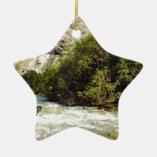 Swiss glacier and meltwater river Double-Sided star ceramic christmas ornament