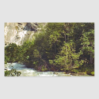 Swiss glacier and meltwater river rectangular sticker