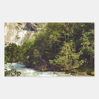 Swiss glacier and meltwater river rectangular sticker