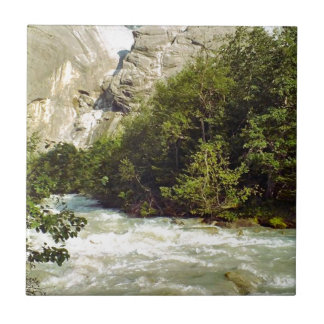 Swiss glacier and meltwater river small square tile
